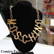 fashion necklace aliexpress images Steampunk gold plated chain big letter retro statement necklace jpg