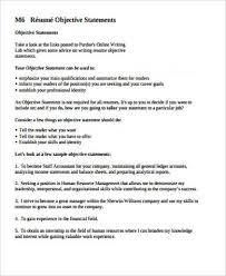 Resume Objective Statement - 7 sle resume objective statement free sle exle format