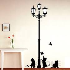 Chandelier Wall Stickers Street Light And Cat Room Decor Removable Vinyl Decal Mural Art