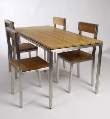 steel dining table set 30elm green design bamboo dining table chairs stainless steel
