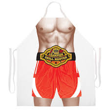 Personalized Kitchen Aprons Boxing Champion Grill Master Funny Novelty Apron