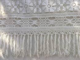 Antique French Lace Curtains by Rideau Dentelle De Coton Panneau Ancien Fait Main Lace Vintage