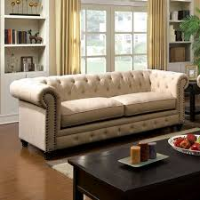 chesterfield inspired rolled arms ivory button tufted sofa w