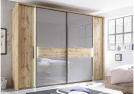 Schlafzimmerschrank Mit Aufbauservice Kleiderschrank Wildeiche Basaltgrau Mit Beleuchtung Woody 207