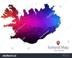Iceland Map Location Iceland Map Polygon Colorful Vector Illustrator Stock Vector