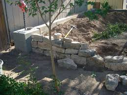 retaining wall and footer pouring concrete
