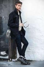 men u0027s black trenchcoat grey crew neck sweater navy skinny jeans
