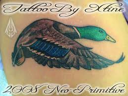 mallard color ink flying duck tattoo