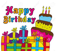 happy birthday card with gifts and cake vector illustration