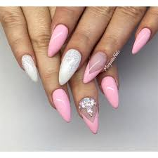 pink and white almond nails nails pinterest τέχνη για τα