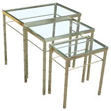 set of three brass and glass faux bamboo nesting tables at 1stdibs