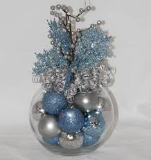 Winter Wonderland Centerpieces by Christmas Centerpiece Ice Blue And Silver Holiday Decoration