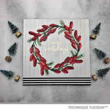 barberry happy holidays wreath card technique tuesday