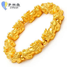 gold lucky bracelet images Usd 418 21 non fish 3d hard gold pixiu bracelet gold men 39 s and jpg
