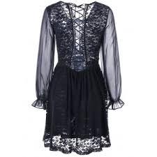 black m long sleeve back tie up sheer lace dress rosegal com