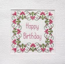 martini birthday card birthday card cross stitch kit 14 count 100 cotton adia no b 030