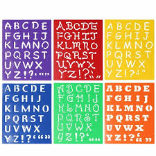 kids capitall alphabet letter drawing templates 6pcs washable