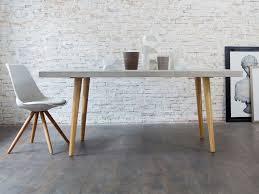 banc beton cire table à manger en béton et piètement en bois l180 cm beton