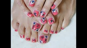 orange and blue summer pedicure flowers toes art design easy