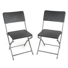 Folding Wicker Chairs 2 X Blow Moulded Folding Chairs Rattan Effect Heavy Duty Camping