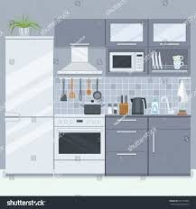 kitchen room furniture refrigerator stove home stock vector kitchen room with furniture refrigerator and stove home interior in flat style vector