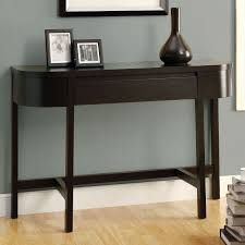 console table design with dark brown varnished wooden made and