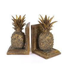 Unique Bookends Amazon Com Creative Co Op Resin Pineapple Bookend Set Gold Home