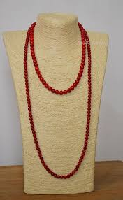 red coral bead necklace images Red coral beaded necklace christmas red coral beads layer long jpg
