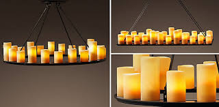 Candle Lit Chandelier Pillar Candle Chandelier Collection Rh