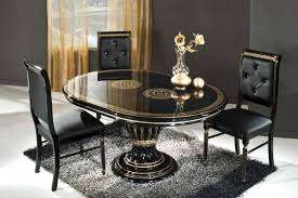 furniture black round extendable modern dining table with three