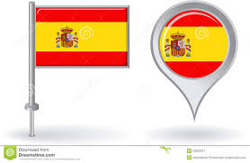 spanish pin icon and map pointer flag vector stock vector image