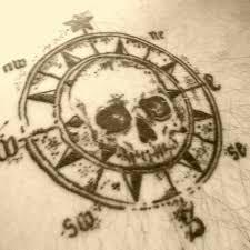 pirate skull compass tattoo design