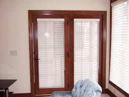 Vertical Blinds Wooden Furniture Brown Wooden Patio Door Using White Horizontal Blind