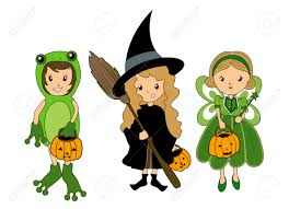 kids in halloween costume royalty free cliparts vectors and