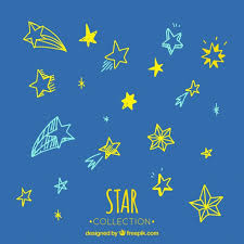 set of beautiful sketches of colorful stars vector free download