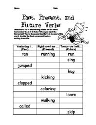 verb tenses inflected ending worksheet past present future 2nd