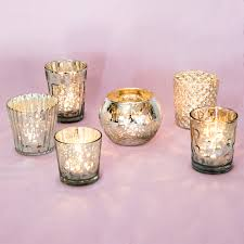 best of mercury glass tea light candle holders set of 6 silver