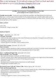 bartending resume templates entry level bartender resume best resume collection