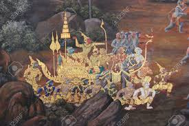 beautiful mural painting which is public domain or treasure of beautiful mural painting which is public domain or treasure of buddhism is painted on the wall