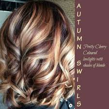 shades of high lights and low lights on layered shaggy medium length pretty cherry colored low lights with shades of blonde short hair