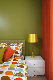 orange bedroom curtains olive green bedroom with orange curtains and orla kiely bedding