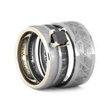 black wedding ring set meteorite wedding ring set black diamond ring 3573