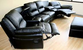 Real Leather Recliner Sofas by Living Room Curved Black Leather Sectional Sofas With Recliners