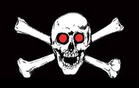 pirate skull crossbones 18 x 12 45cm x 30cm sleeved boat flag