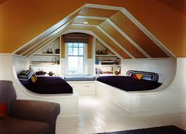futuristic attic bedroom with orange white accents combined twin
