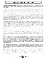 cover letter rental termination letter to tenant lease termination