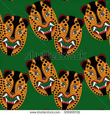 mexican mask jaguar head on white stock vector 280304510