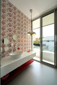 bathroom wallpaper ideas in minimalistic vacation home in bangkok