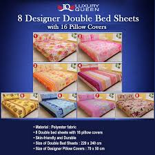 buy luxury queen 8 designer double bed sheets with 16 pillow
