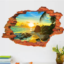 broken wall decal sunset scenery seascape island coconut trees broken wall decal sunset scenery seascape island coconut trees household adornment can remove the
